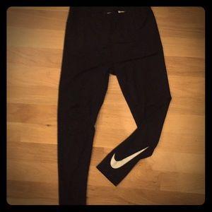 Nike Dri-Fit Leggings -Black and Silver
